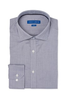 Men's Slim-fit Mini Diamond Dress Shirt, Grey