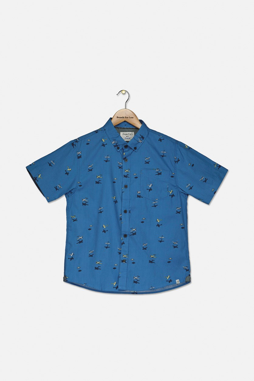 Boy's Allover Printed Casual Shirt, Blue