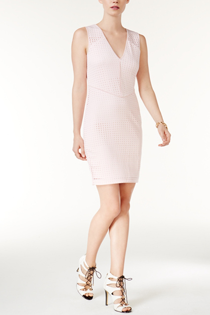 Womens Lourdes Perforated Bodycon Dress, Pink