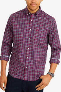 Men's Classic-Fit Button Up Shirt, Red