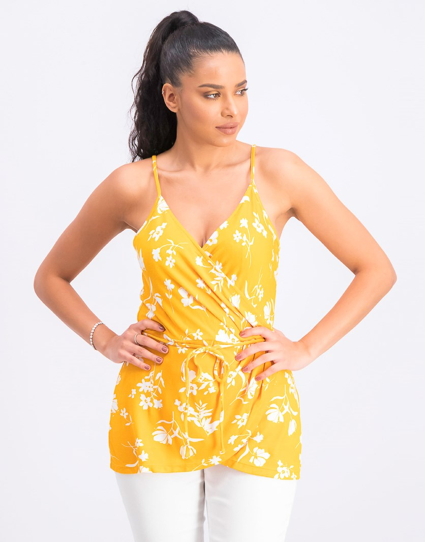 Women's Sleeveless  Floral Surplice Top, Yellow