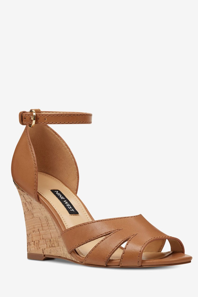 Women's Lilly Ankle Strap Wedge Sandal, Dark Natural