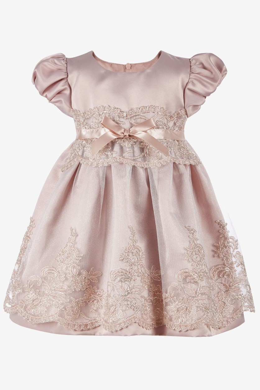 Baby Girls Embroidered Tulle Satin Dress, Pink