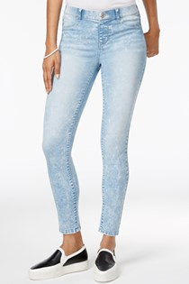 Women's Pull On Jeggings Acid Wash Jeans, Blue