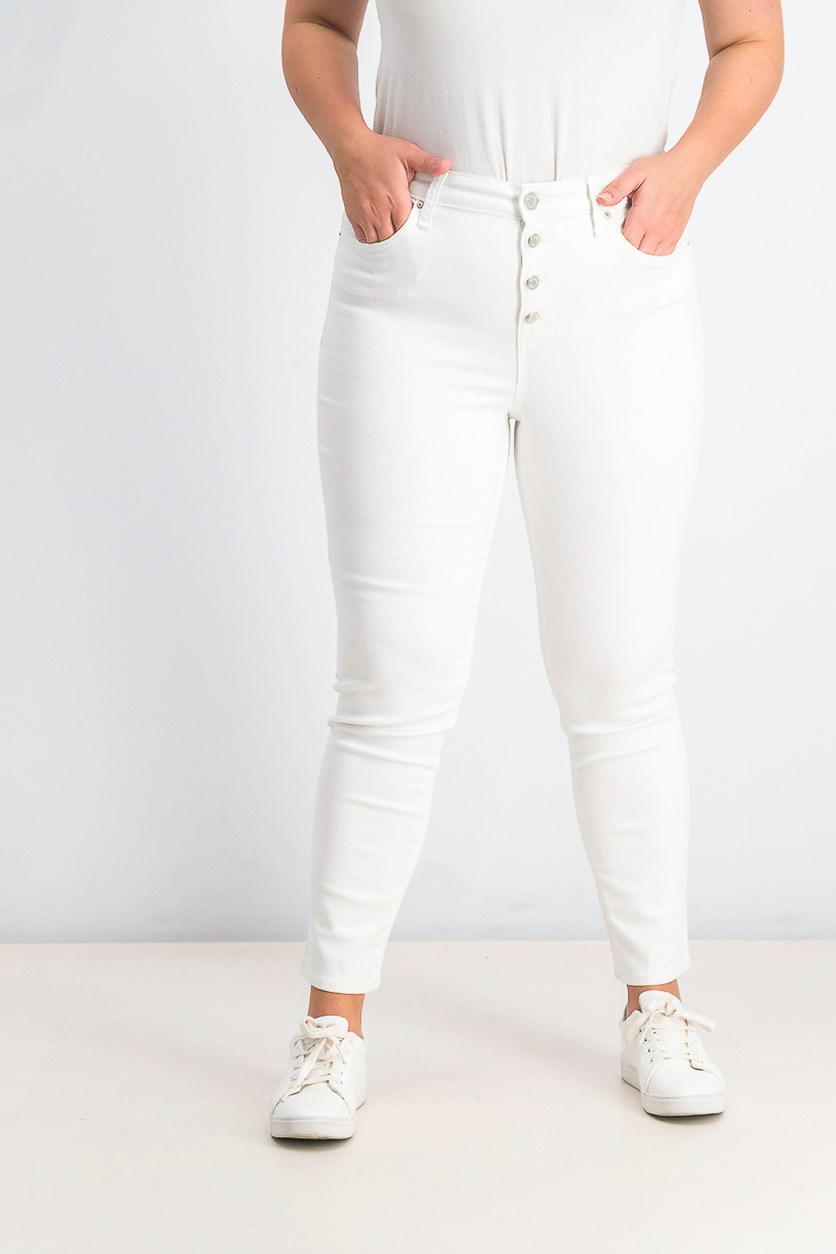 Women's Button-Fly Ankle Jeans, White