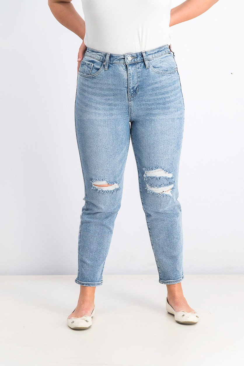 Women's So Cheeky Ripped Straight-Leg Jeans, Wash Blue
