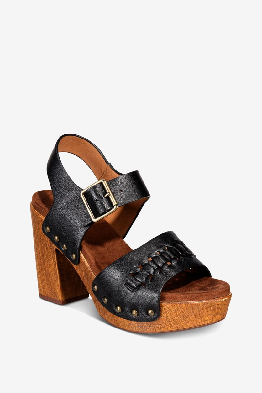 Women's Altheda Platform Sandals, Black Smooth