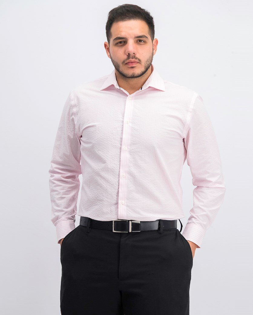 Men's Slim-Fit Stretch Dress Shirt, Pale Pink