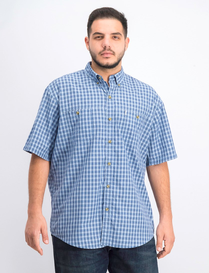 Men's Plaid Shirt, Chambray Blue