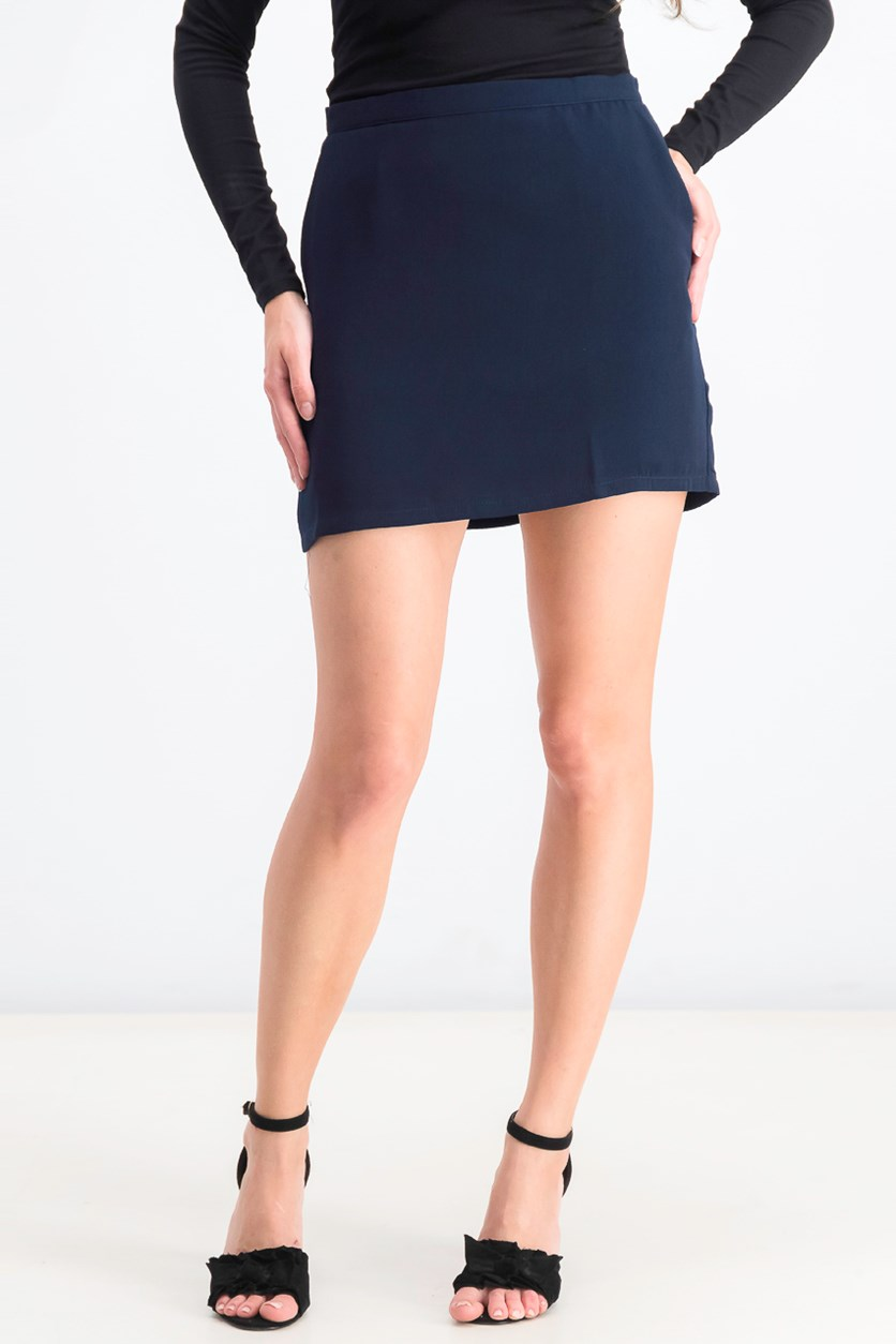 Womens Micro-Ribbed Mini Skirt, Navy