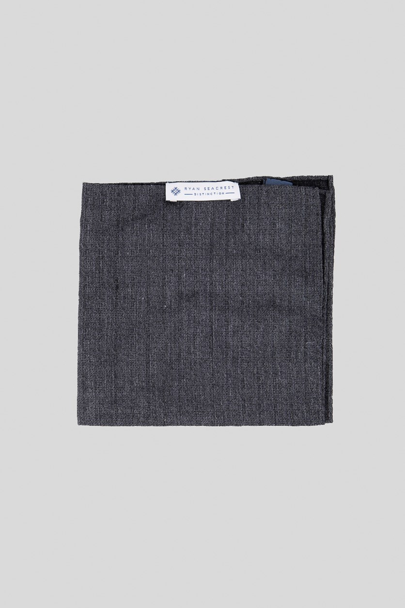 Mens Textured Pocket Square, Charcoal