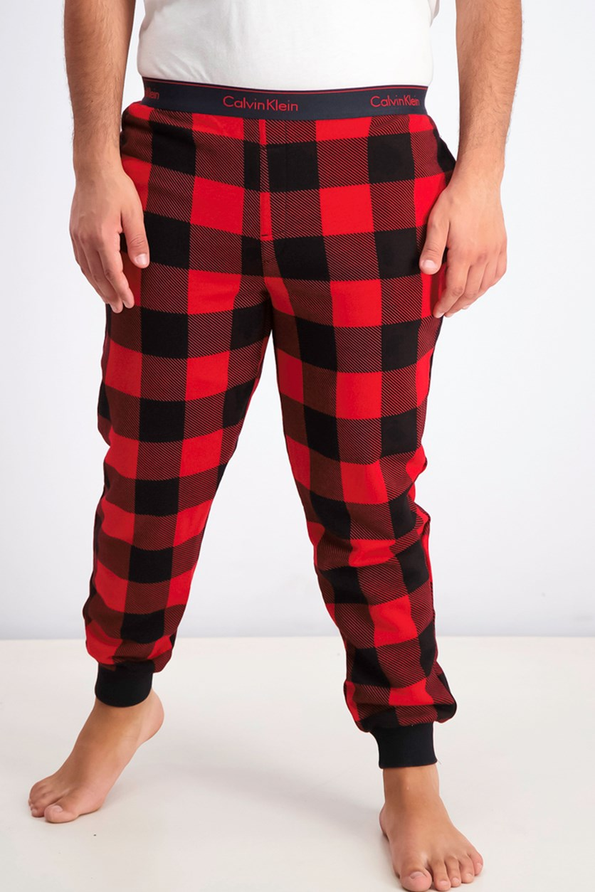 Men's Chekered Pajama Pants, Red/Black