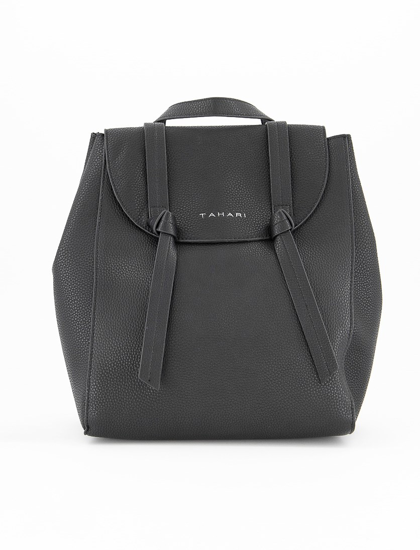 Women's  Knotty Pebbled Faux Leather Backpack, Black