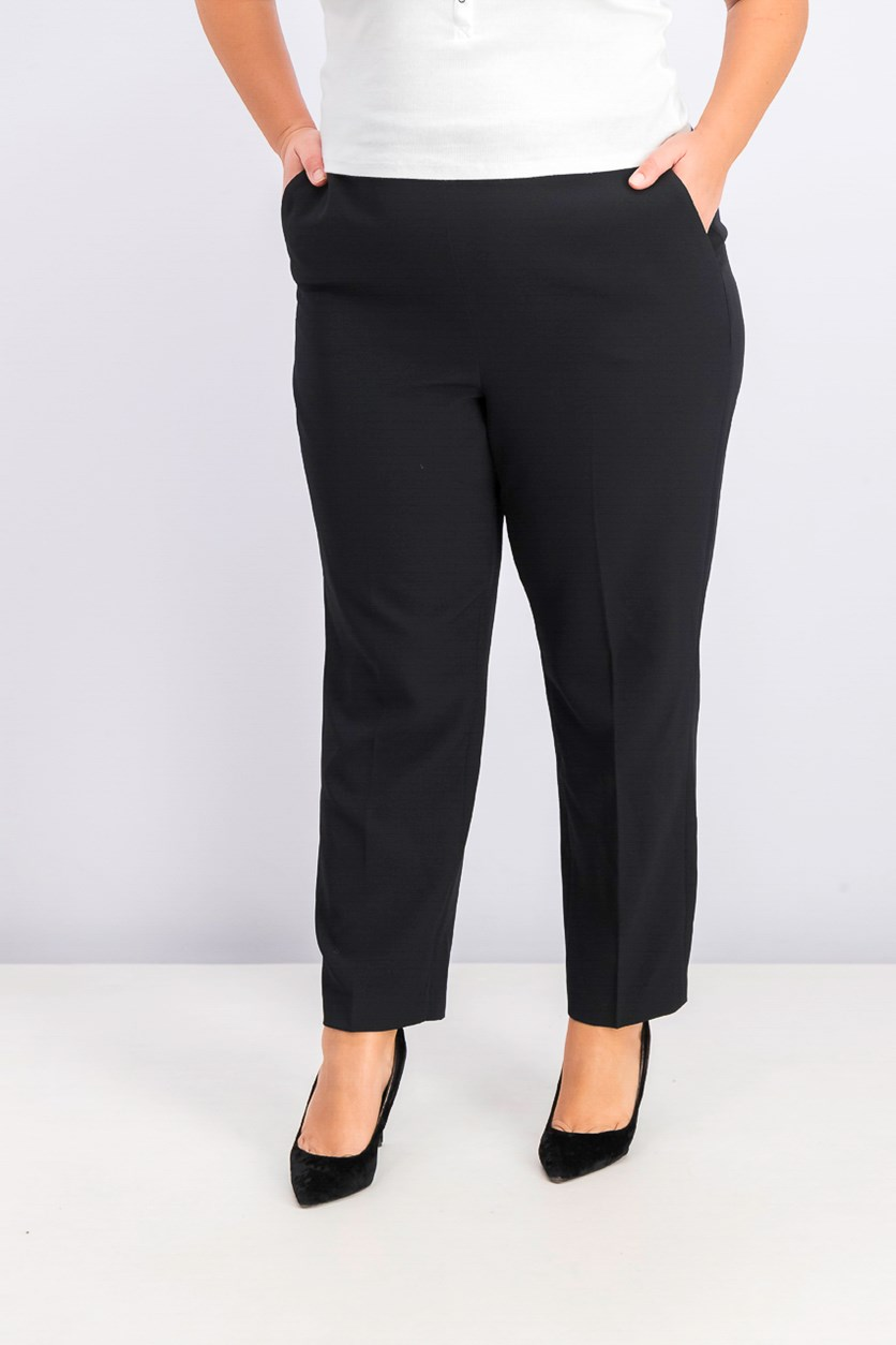 Women's Pull-On Straight-Leg Pants, Black