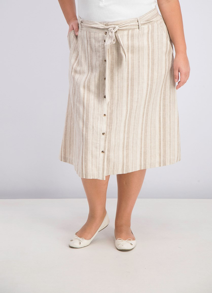 Women's Plus Size Striped Button Front Midi Skirt, Stone