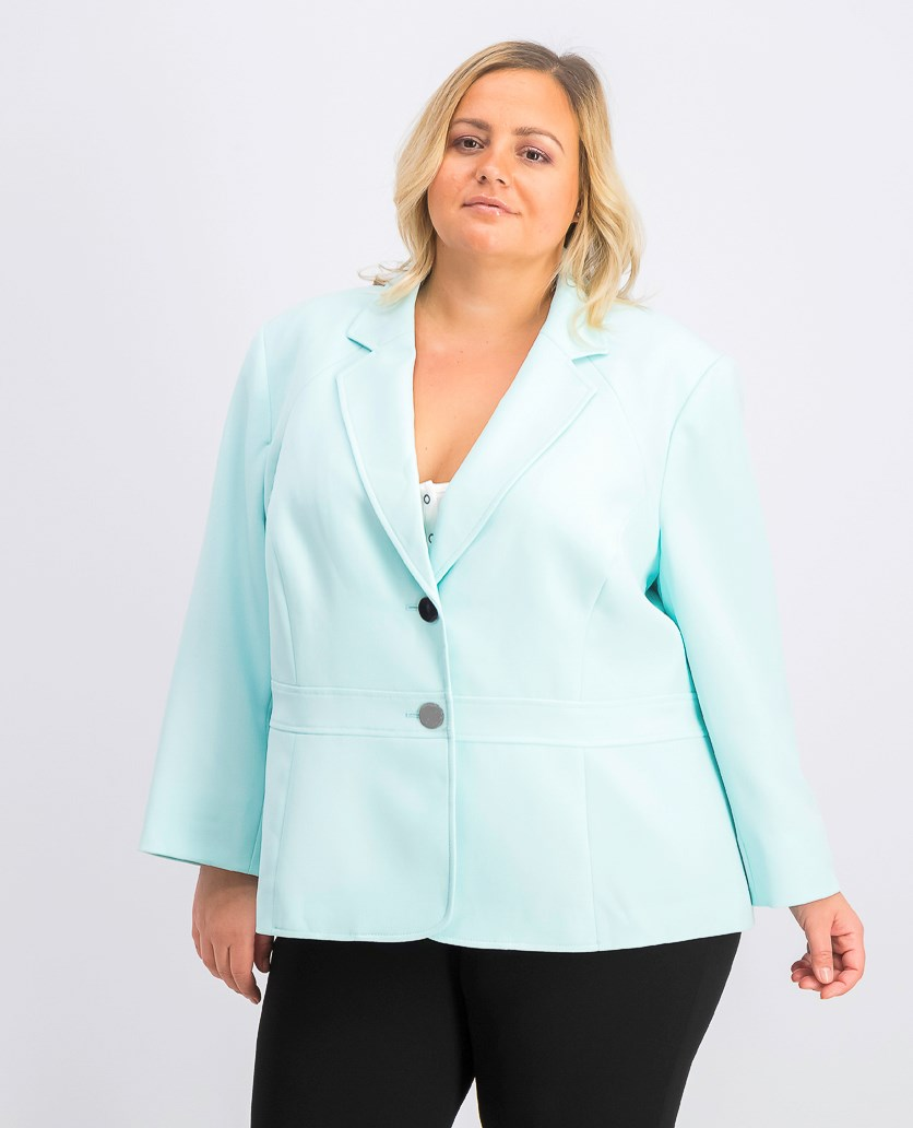 Women's Plus Size Stretch Two-Button Blazer, Sea Glass