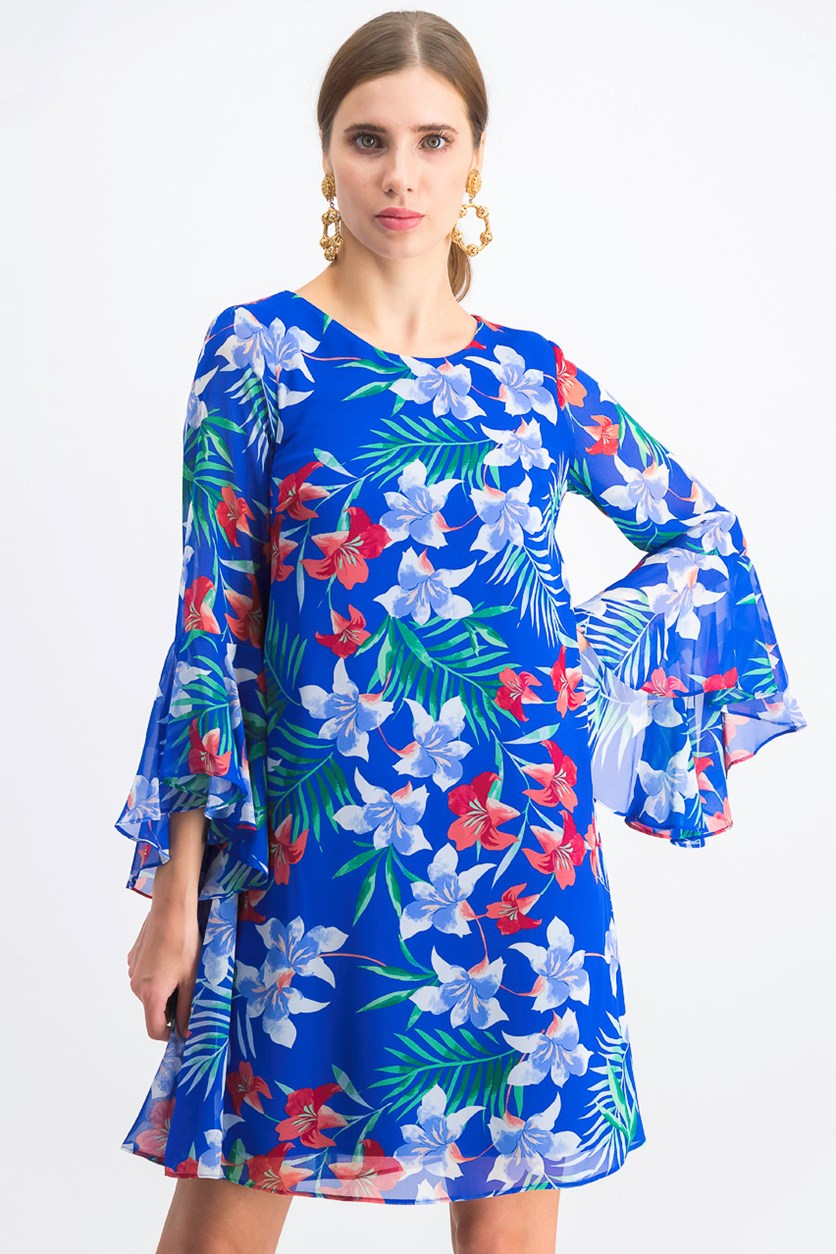 Women's Floral Chiffon Bell-Sleeve Dress, Blue Combo