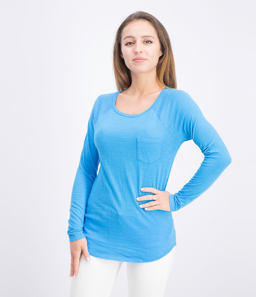 Women's Long Sleeve Top, Blue Galaxy