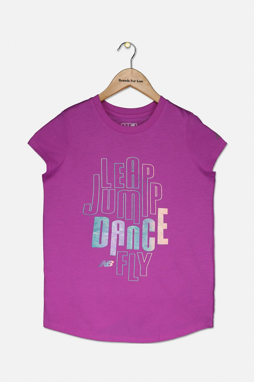 Girl's Graphic Print T-Shirt, Purple Combo
