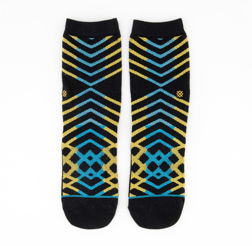 Kids Boys Ankle Biters Socks, Black/Yellow/Blue