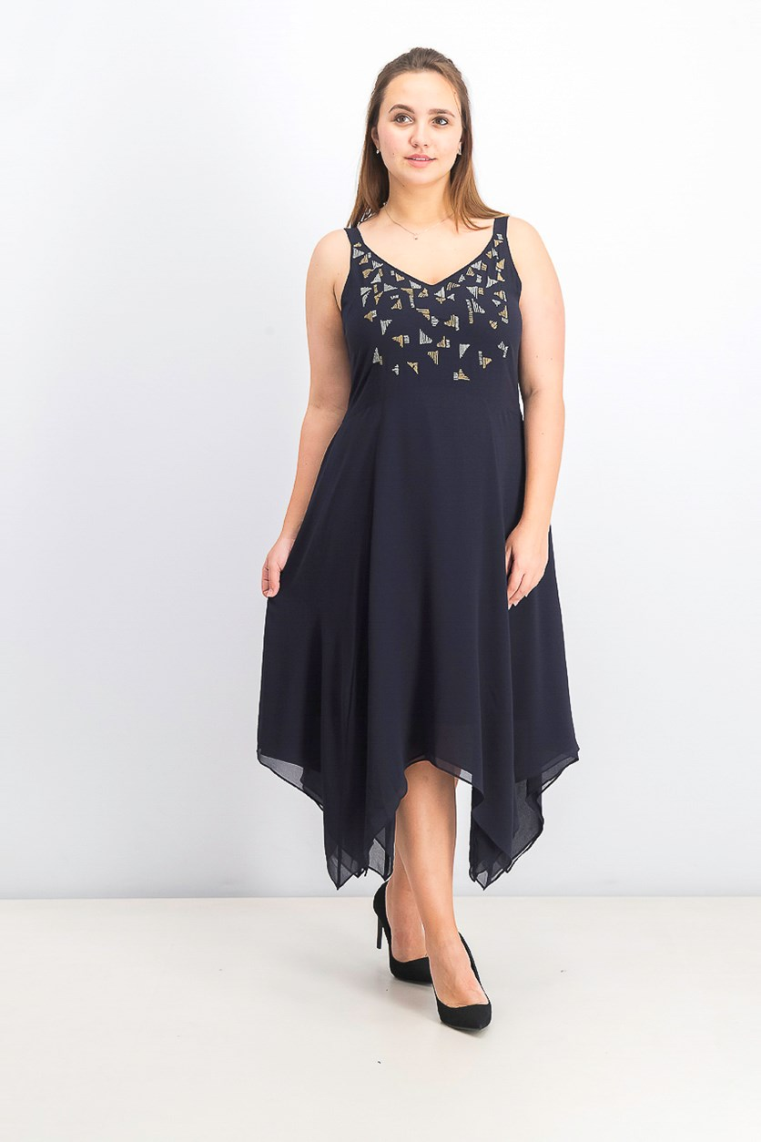 Womens Sleeveless Chiffon Midi Dress, Navy