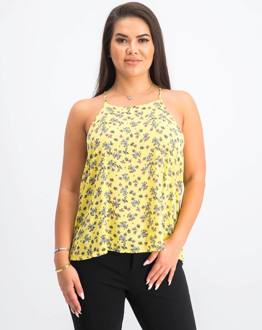 Juniors' Back-Tie Tank Top, Yellow Floral