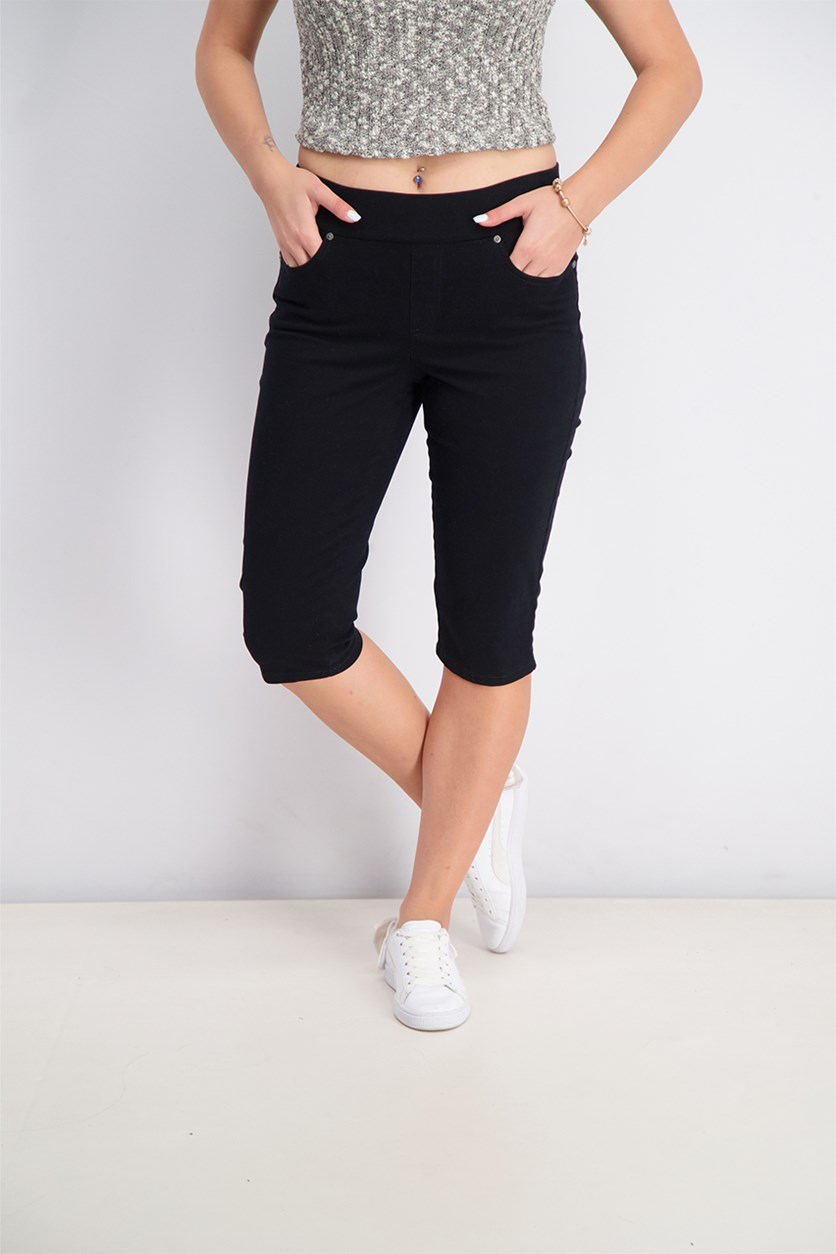 Petite Pull-On Skimmer Jeans, Black