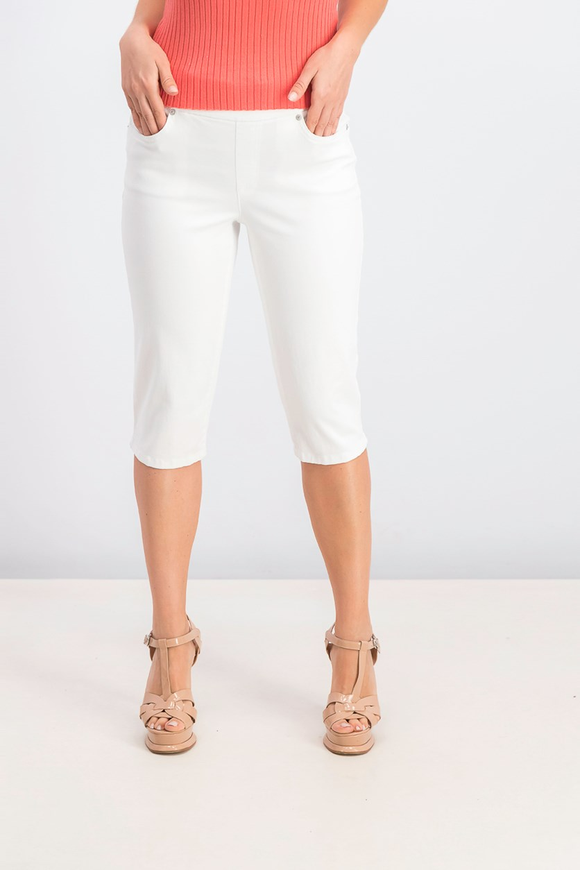 Petite Pull-On Skimmer Jeans, White
