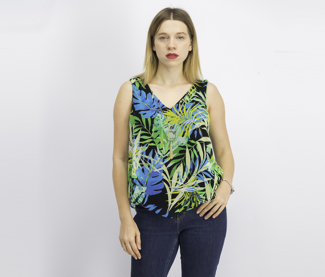 Women's Printed Necklace Tank Top, Palm Print
