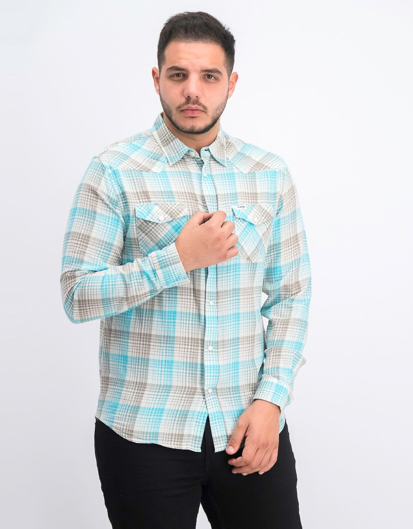 Men's Western Plaid Shirt, Aqua/Grey