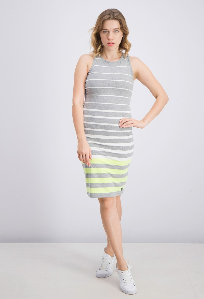 Women's Luxe Striped Bodycon Dress, Grey Marl/Lime