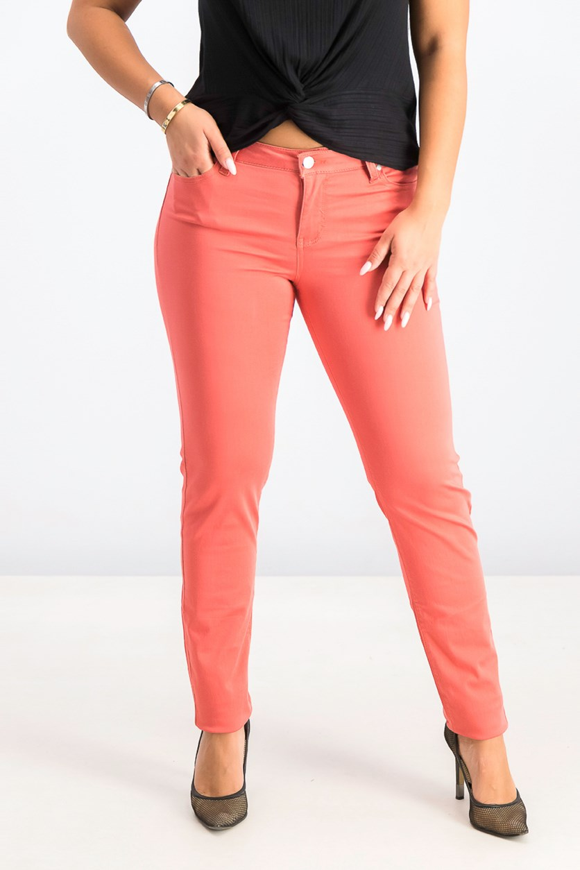 Women's Juniors Colored Skinny Jeans, Spiced Coral