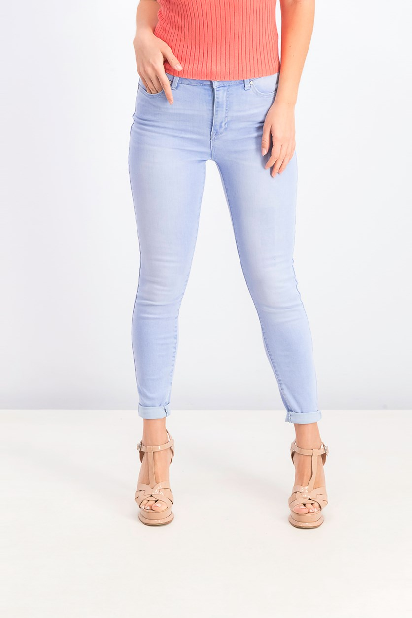 Women's Juniors' Light Wash Skinny Ankle Jeans, Cobalt Light