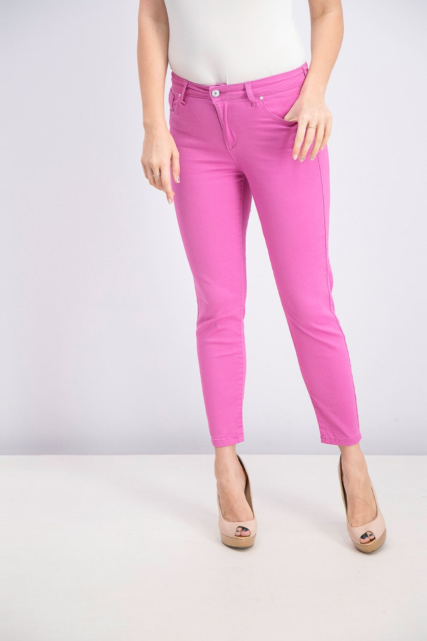 Juniors' White Colored Skinny Jeans, Passion Pink