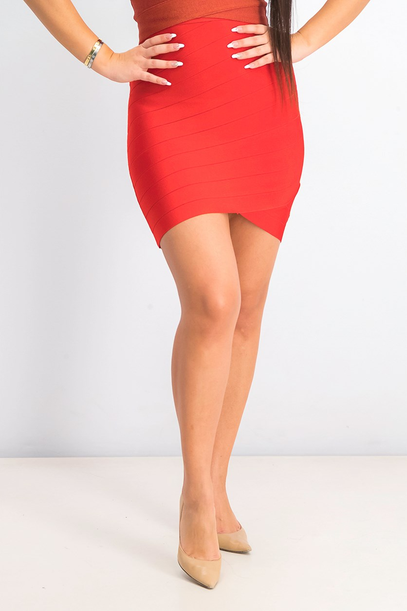 Womens Milani Assymmetrical Bandage Skirt, Red