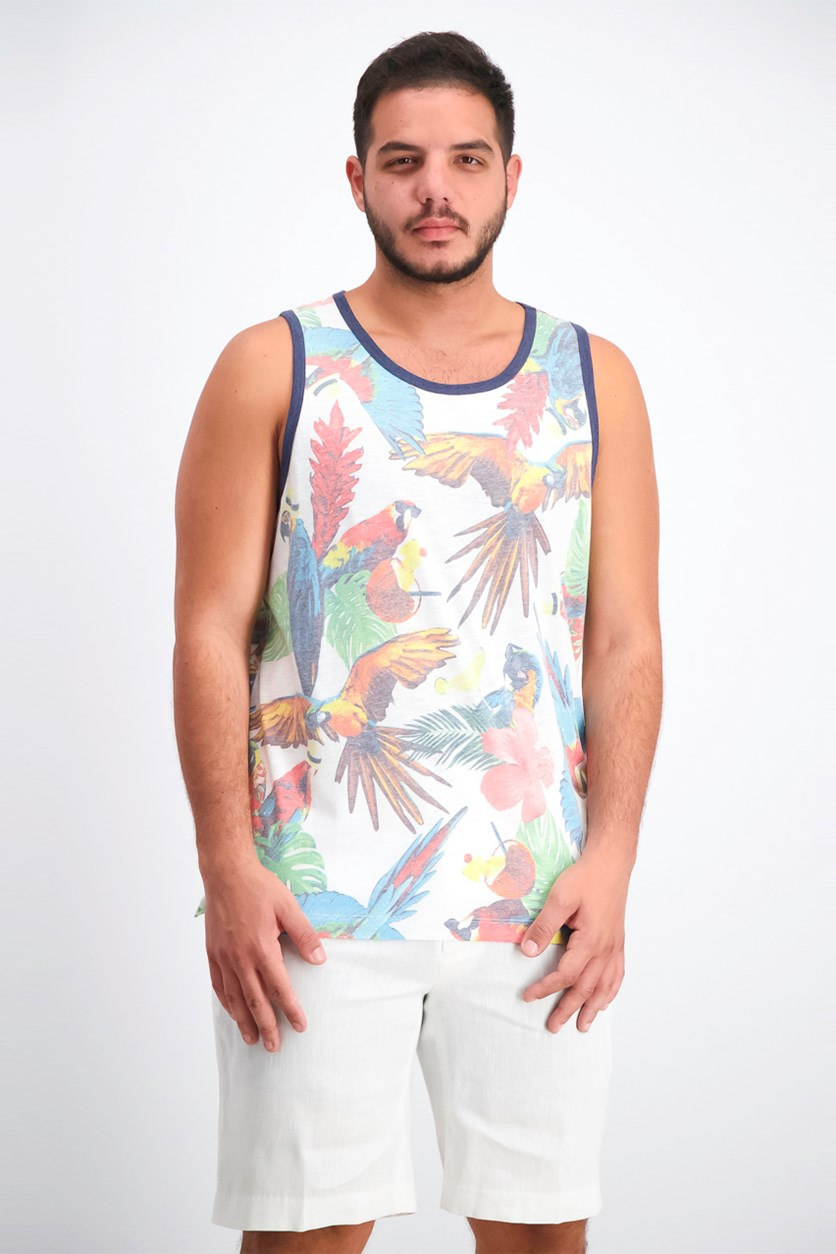 Men's Bird Print Tank, Marshmallow