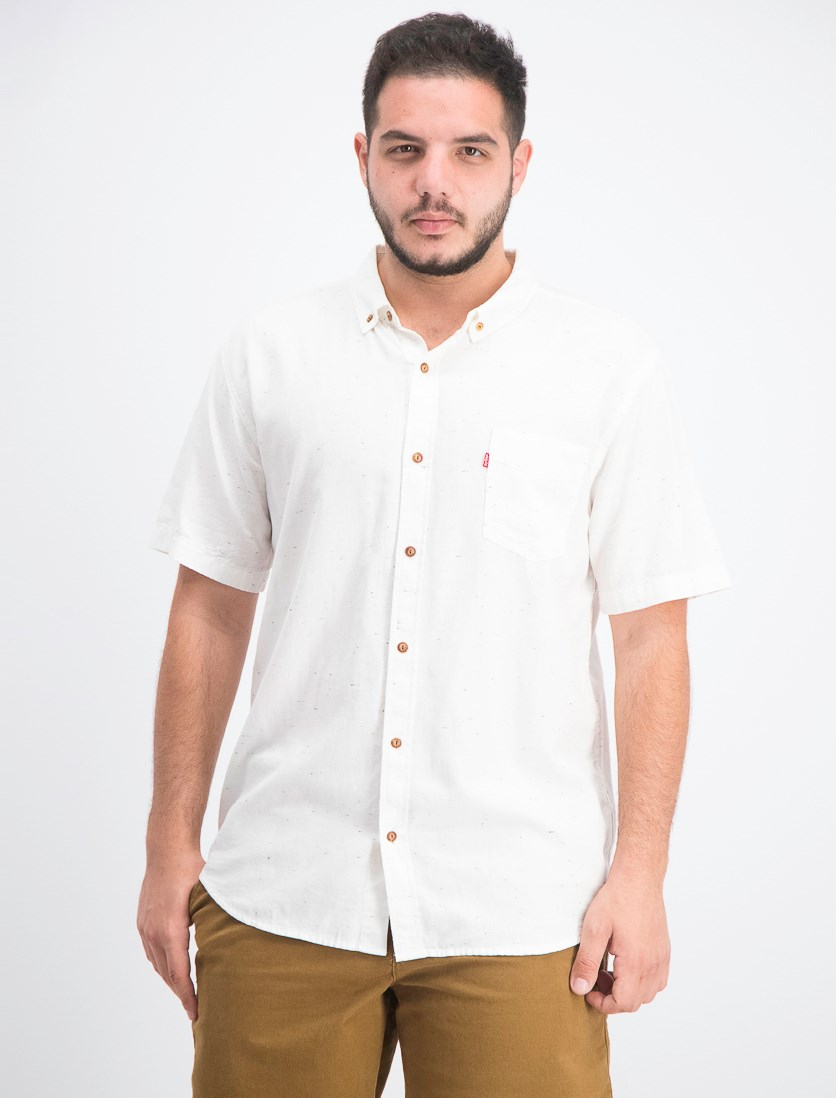 Men's Short-Sleeve Pocket Oxford Shirt,  Marshmallow