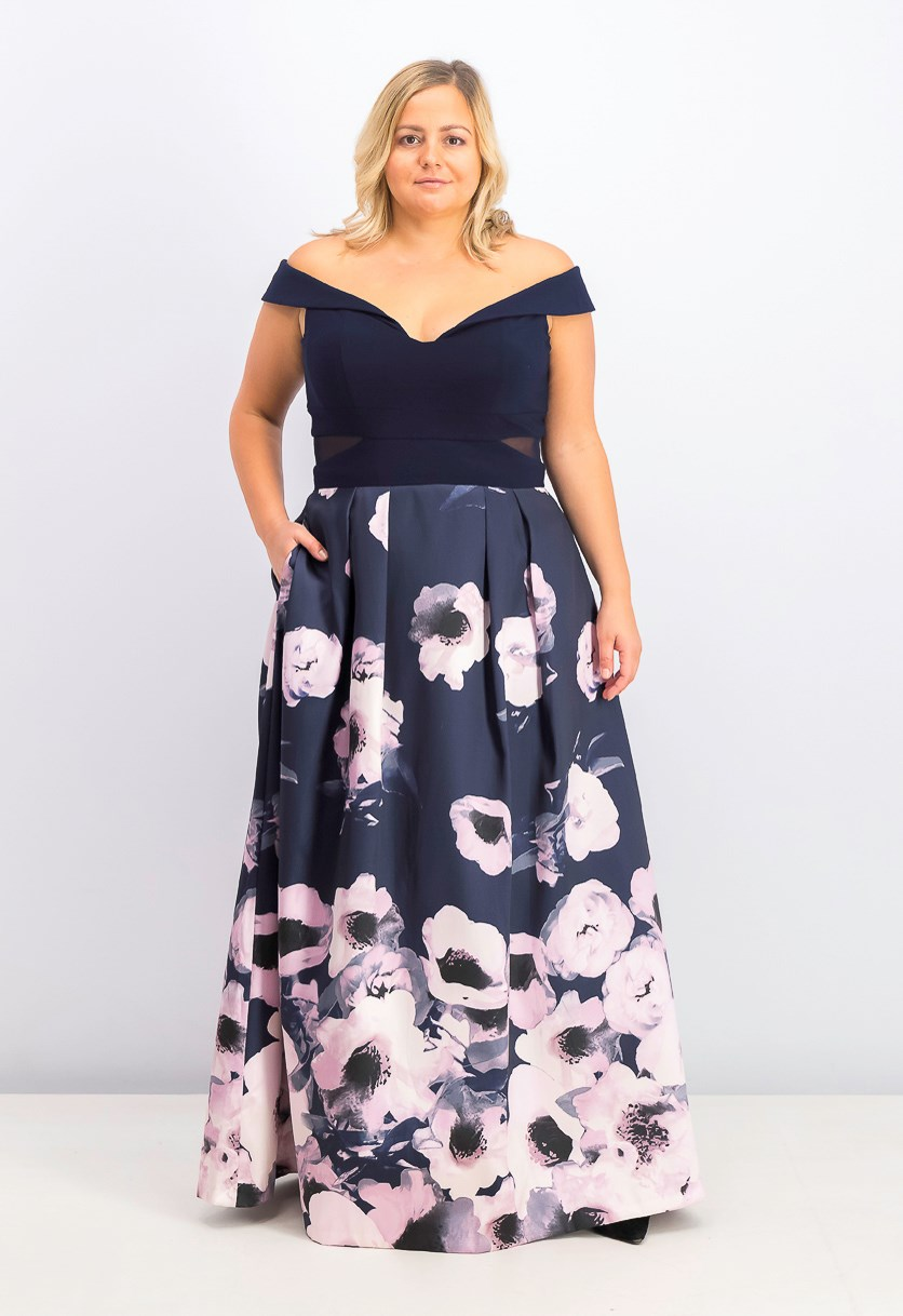 Womens Plus Size Off-The-Shoulder Floral-Print Gown, Navy/Pink