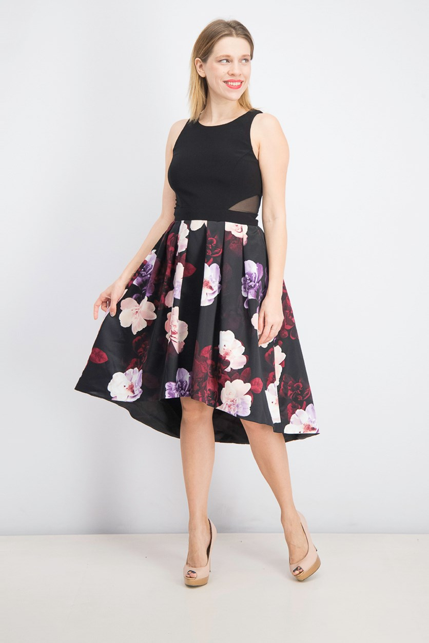 Women's Floral Print High-Low Hem Dress, Black Combo