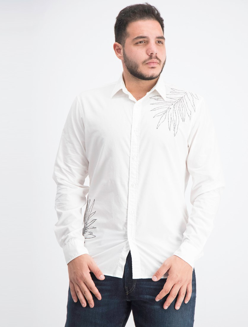 Men's Slim-Fit Embroidered Shirt, White
