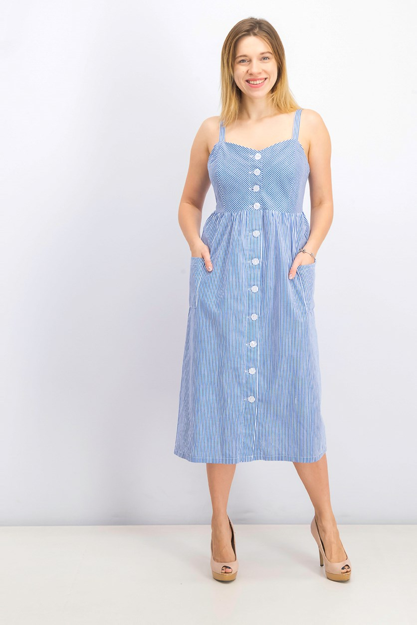 Women's Button-up Dress, Blue