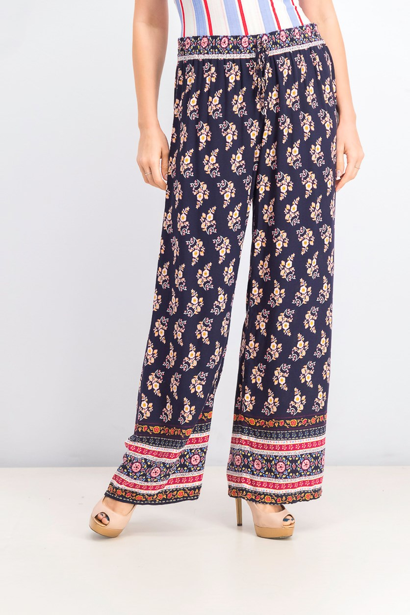 Juniors' Printed Soft Pants, Navy/Red