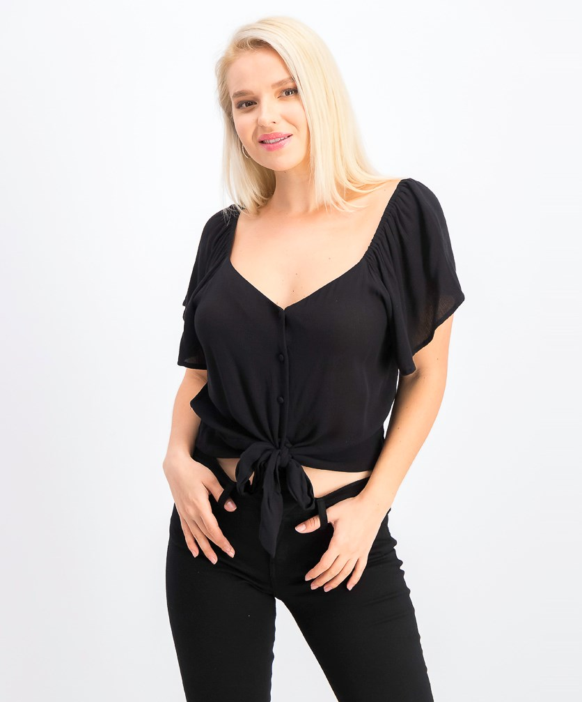 Juniors' Flutter-Sleeve Button-Front Top, Black