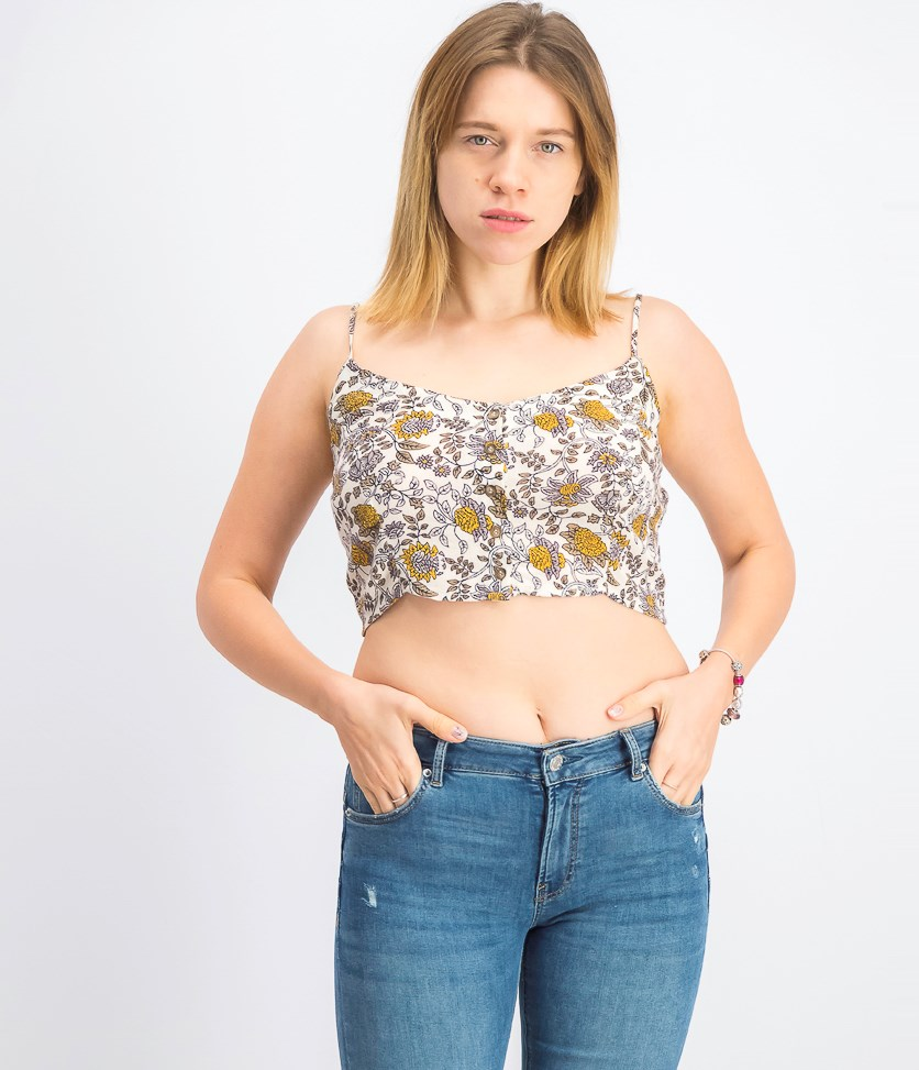 Women's Juniors' Floral-Print Cropped Tank Top, Taupe