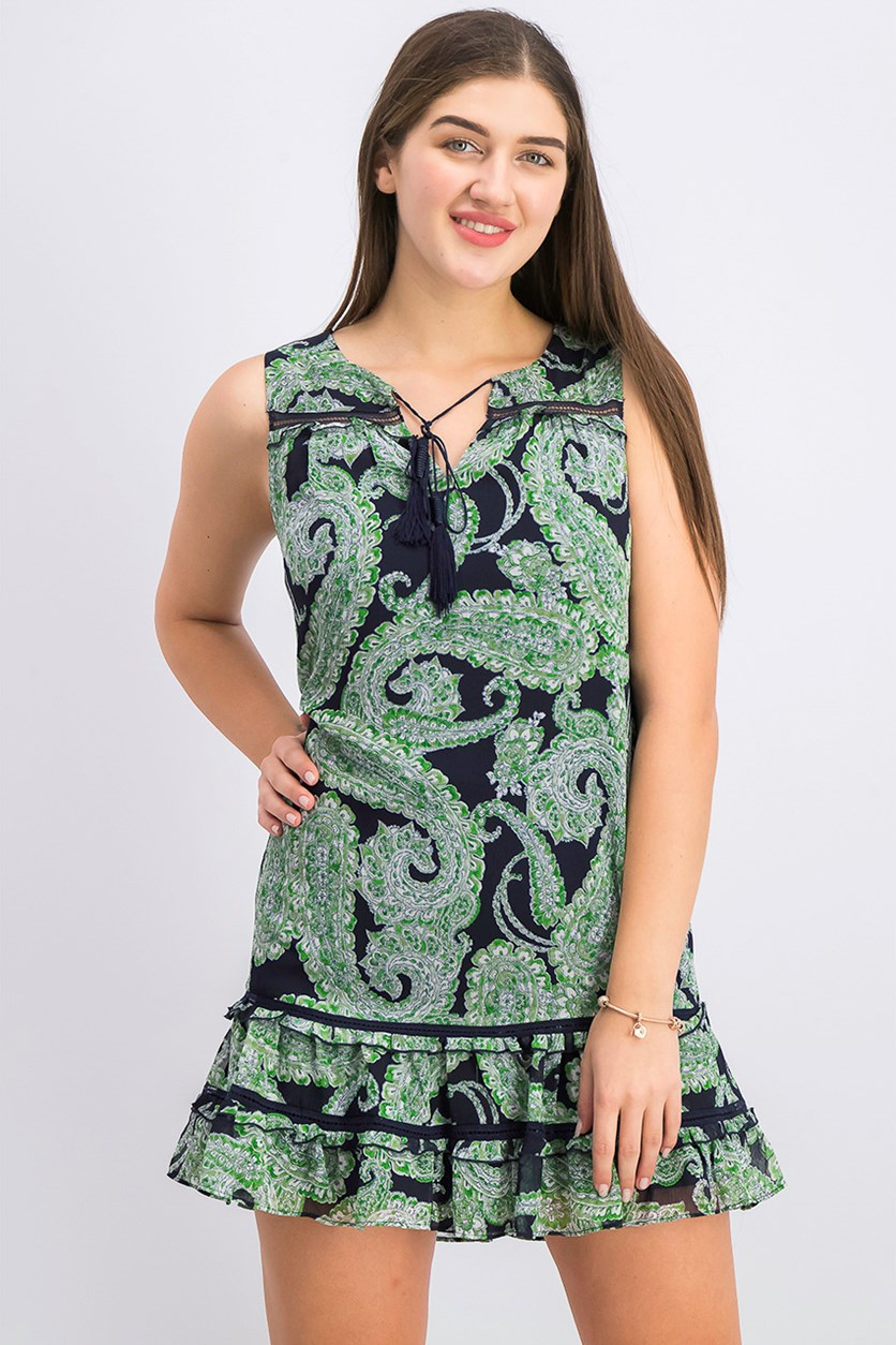 Women's Petite Paisley Print Flounce Dress, Green/Navy Blue