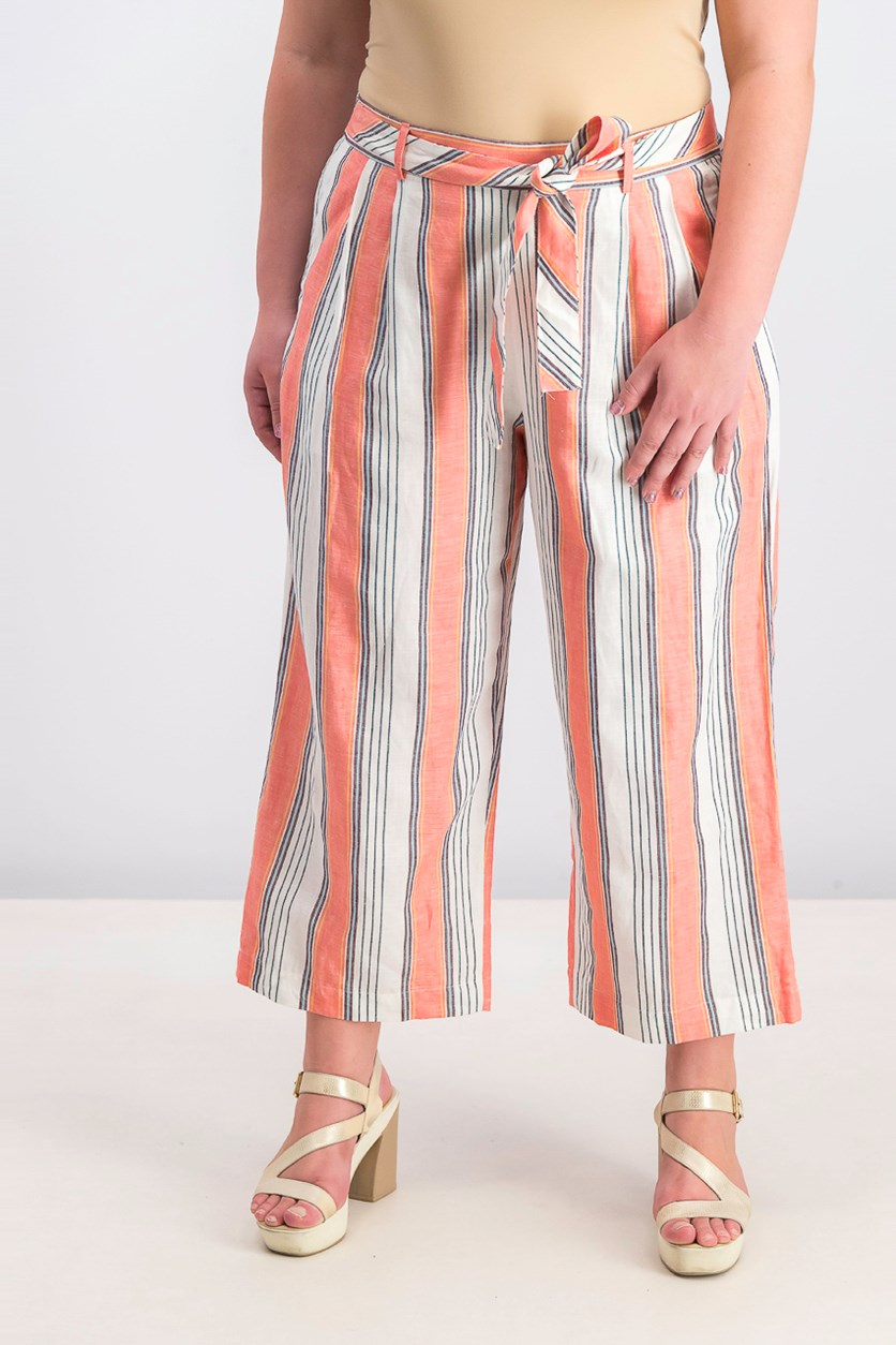 Women's Linen Striped Belted Capri Pants, Coral/White