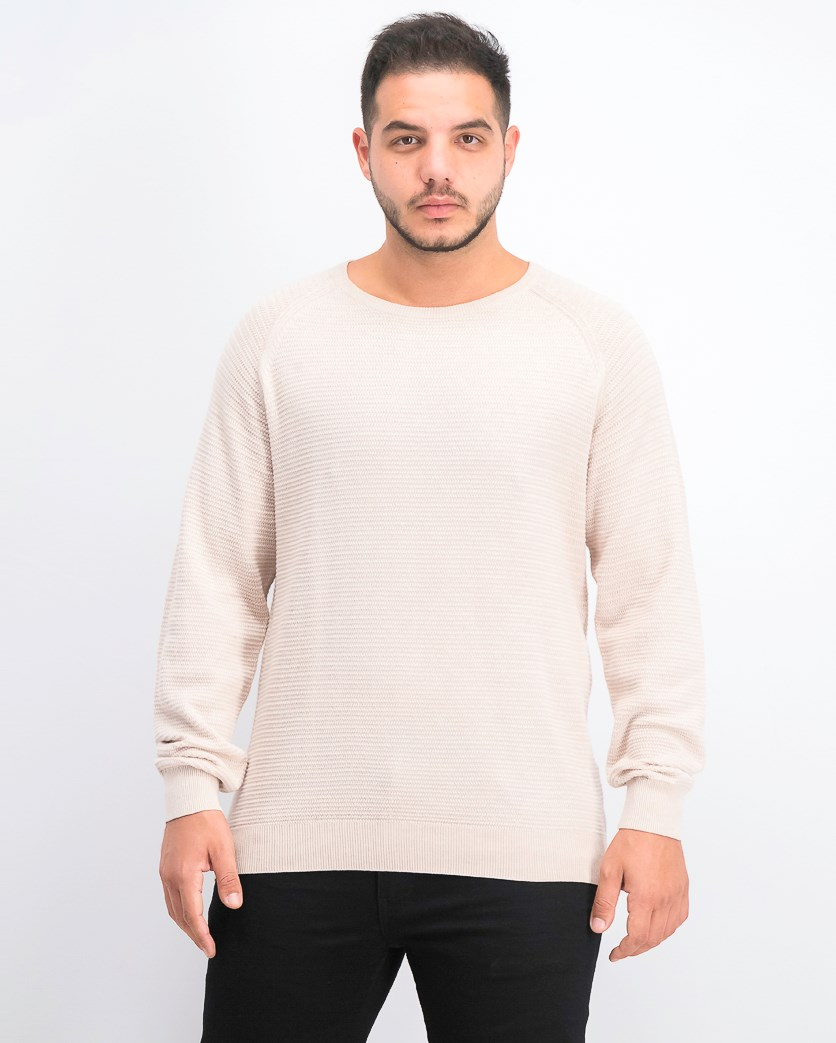 Men's Long Sleeve Sweater, Beige