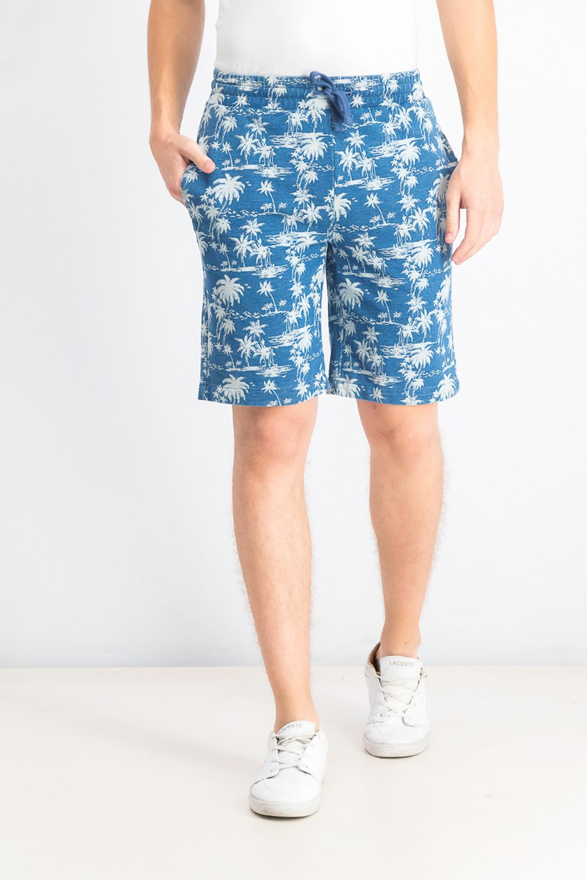 Men's Drawstring Printed Shorts, Blue
