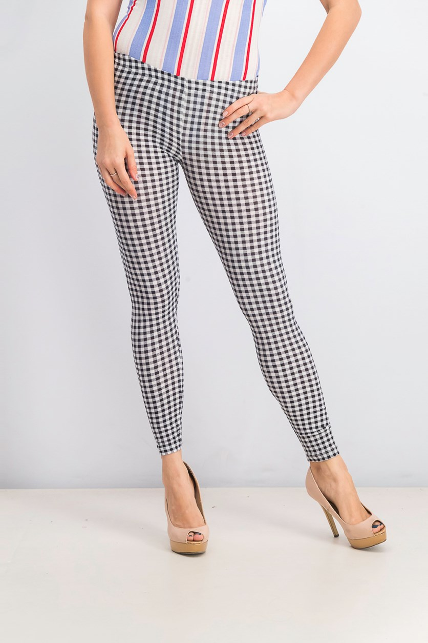 Juniors' Gingham-Printed Brushed Jersey Leggings, Black Gingham