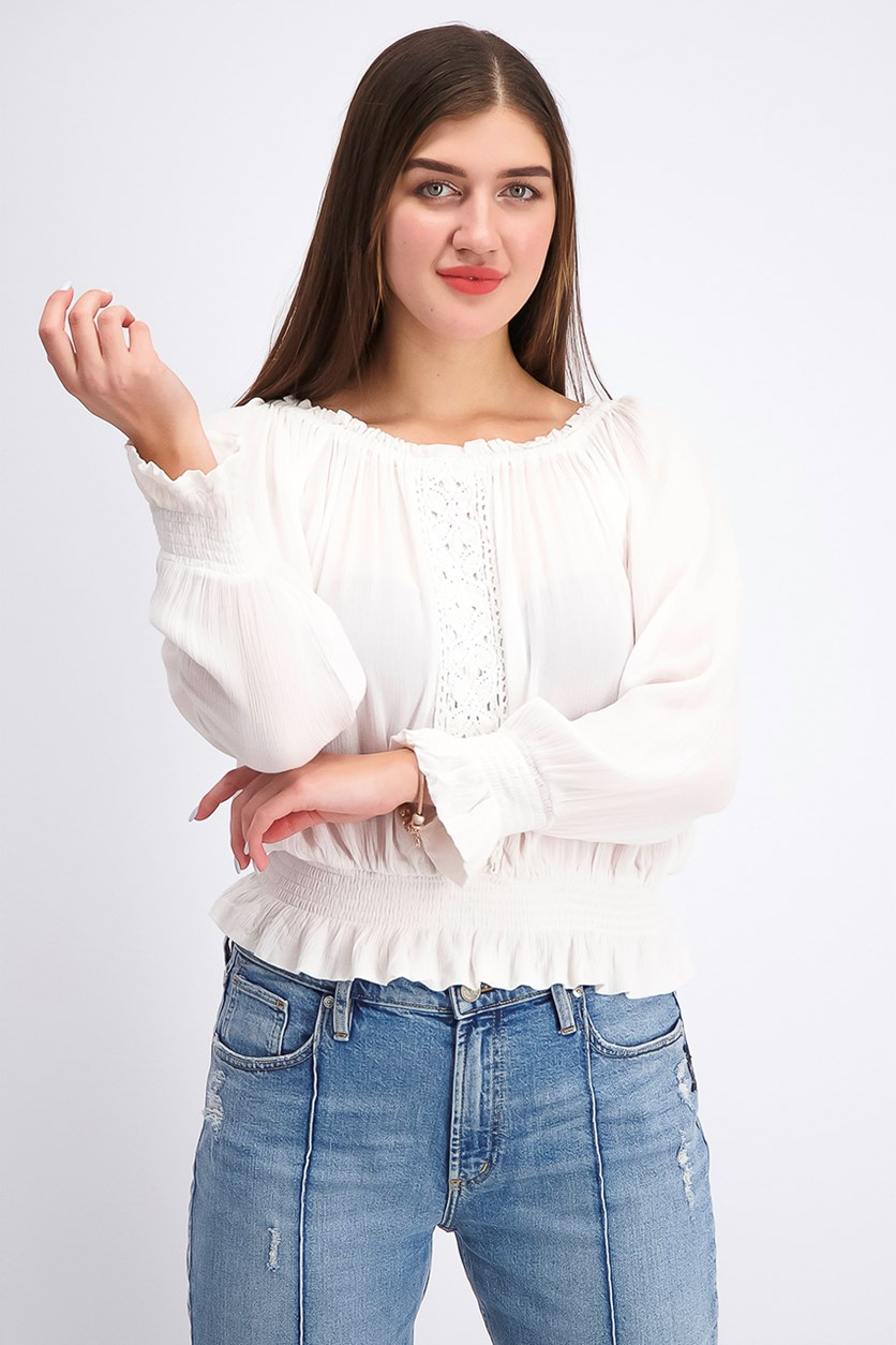 Women's Juniors' Smocked Off-The-Shoulder Top, Ivory